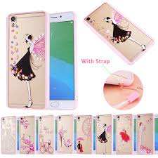 Oppo A57 Rhinestones Pink Soft Silicone Tpu Pc Cover For Oppo A57