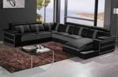 canap noir et gris canapé d angle cuir buffle italien 7 8 places leonardo couleur