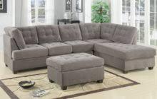 broken white velvet sleeper sofa with chaise and black wooden legs