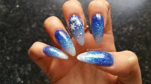 acrylic nails blue glitter gradient snowflakes youtube