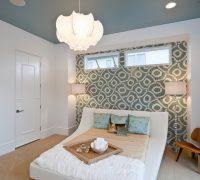 peacock blue accent wall bedroom contemporary with wall art