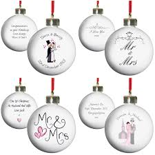1st Christmas Decorations Personalised Tree Baubles 1st Christmas Married Winter Wedding