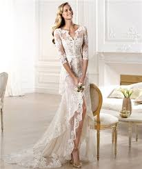 informal wedding dresses sheath v neck high low front slit lace wedding dress with sleeve