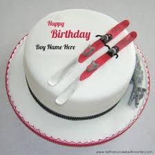write boy name on ski design birthday cake