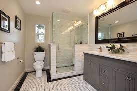 Bathroom Bathroom Vanities Traditional Master Bathroom With Flush Ceramic Tile Floors In