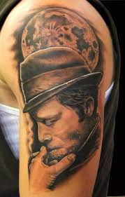 famous upper sleeve cool smoke men face with portrait moon tattoo