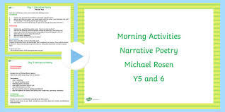 year 5 and 6 english morning activities narrative poetry poems