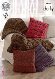 Knitted Cushion Cover Patterns 4665 King Cole Corona Chunky Throw Cushion Cover Knitting Pattern 114383 P Jpg