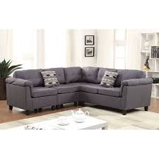 Reversible Sectional Sofa Acme Cleavon Reversible Sectional Sofa With 2 Pillows Gray Linen