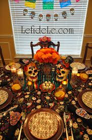 halloween fabric tablecloth dia de los muertos day of the dead themed halloween dinner party