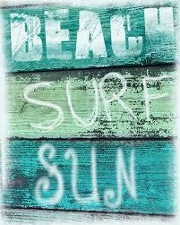 Vintage Beach Decor Vintage Beach Sign Art Print Beach Surf Sun Aqua Green Blue
