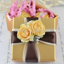 jewelry box favors gold square box with ribbon flower decoration wedding favor gift
