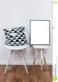 home decor objects simple decor objects and art poster mock up stock photo image