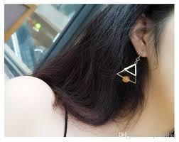 ear sense earrings minimalist retro temperament gold triangular pearl multi