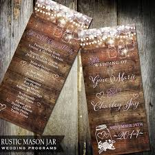 jar wedding programs rustic jar wedding program wood background flicker