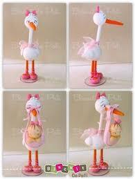stork cake topper porcelana fria cold porcelain girl kid stork baby shower