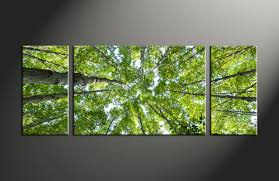 Home Decor Canvas Art by Triptych Scenery Green Nature Leafy Huge Canvas Art