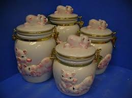 pig kitchen canisters pigs latching airtight 4 canisters set 3 d pignew