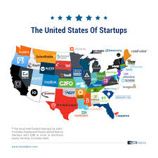 Map Of The United States Capitals by The United States Of Startups The Most Well Funded Tech Startup