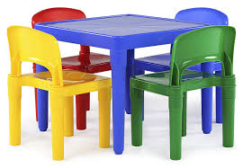 Ikea Kids Table And Chair Set Amazon Com Tot Tutors Kids Plastic Table And 4 Chairs Set