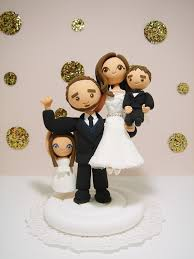 lovely family couple with 2 kids custom wedding cake topper by