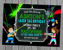 laser tag birthday invitation printable and printed with free