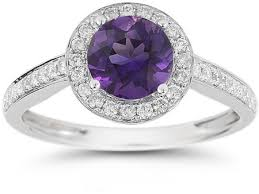 amethyst diamond rings images Modern halo amethyst diamond ring in 14k white gold jpg
