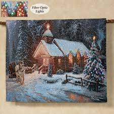 thomas kinkade lighted pictures christmas chapel i lighted wall tapestry blue christmas