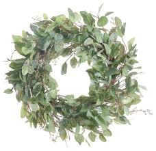 artificial eucalyptus leaf wreath modern wreaths and garlands