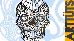 art tutorial draw a day dead candy skull tattoo youtube