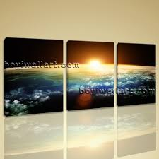 Home Decor Living Room Large Planet Earth Sunset Other Wall Art Print On Canvas Home