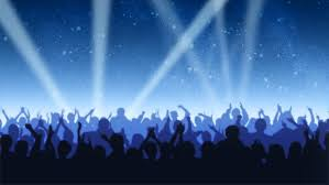Blue Light Live Many People At Rave Party Crowd Dance In Blue Light Of Projectors