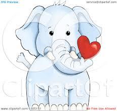 cartoon of a cute blue elephant holding a valentine heart