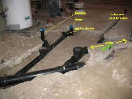 Installing Basement Shower Drain by Venting Toilet And Shower Under Slab Plumbing Diy Home