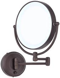 Wall Vanity Mirror With Lights Amazon Com Cordless Led Pivoting 9 U0026quot Wide Bronze Wall Mount