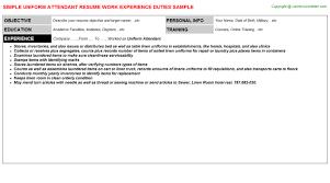 Parking Attendant Resume Uniform Attendant Resumes Samples