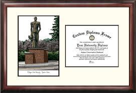 michigan state diploma frame michigan state spartans spartan statue lithograph diploma frames