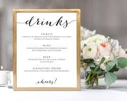 wedding drink menu template drinks menu template wedding templates and printables