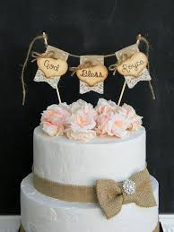baptism cake toppers god bless christening baptism cake topper burlap lace
