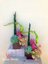 protea and succulent flower arrangement designed by steven bowles