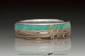 mokume gane mokumé gane sterling silver ring with 2k shakudo and 3k kogane and