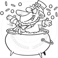 cartoon leprechaun pot of gold black and white line art by ron