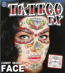 candy skull make up tattoo for mexican day of the dead at halloween