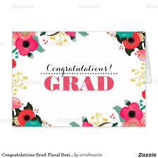 Invitation Graduation Cards Congratulations Grad Modern Floral Watercolor Painting Design