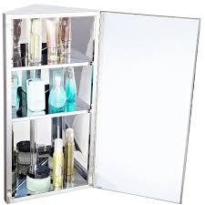 homcom stainless steel wall mounted bathroom corner mirror storage
