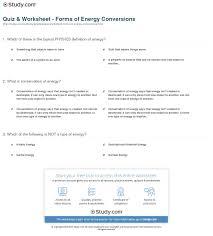 quiz u0026 worksheet forms of energy conversions study com