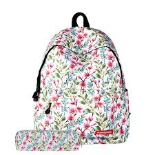 Polyester Flowers - 2017 fashion new woman backpack printing polyester flowers floral