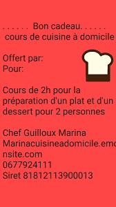 offrir un cours de cuisine cours de cuisine à domicile secteur redon