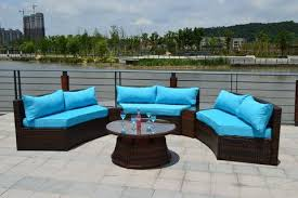Rattan Patio Furniture Sets Sunbrella Curved Wicker Rattan Patio Furniture Set With Coffee