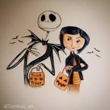 jack skellington and coraline halloween drawing by danikas art26